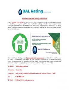 Bal Rating Service provider in Perth